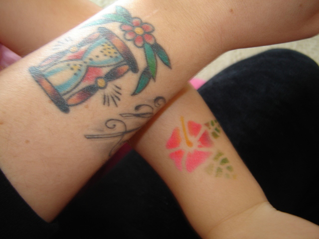 My and Skye's wrist tattoos (hers airbrushed of course)